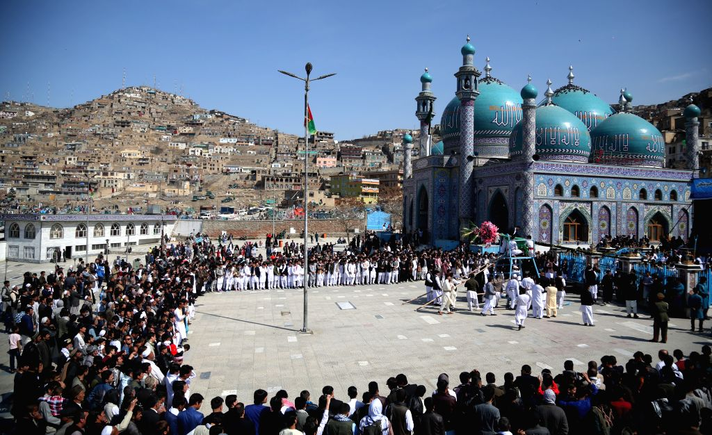 KABUL, March 21, 2018 - People gather at the Sakhi Shrine during the celebration of annual Nawroz Festival in Kabul, capital of Afghanistan, March 21, 2018.