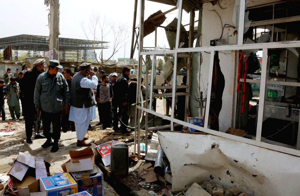 KABUL, March 29, 2016 - Photo taken on March 29, 2016 shows the site of a blast in Kabul, capital of Afghanistan. Two civilians were killed and seven others wounded in a bomb attack in Kabul on ...