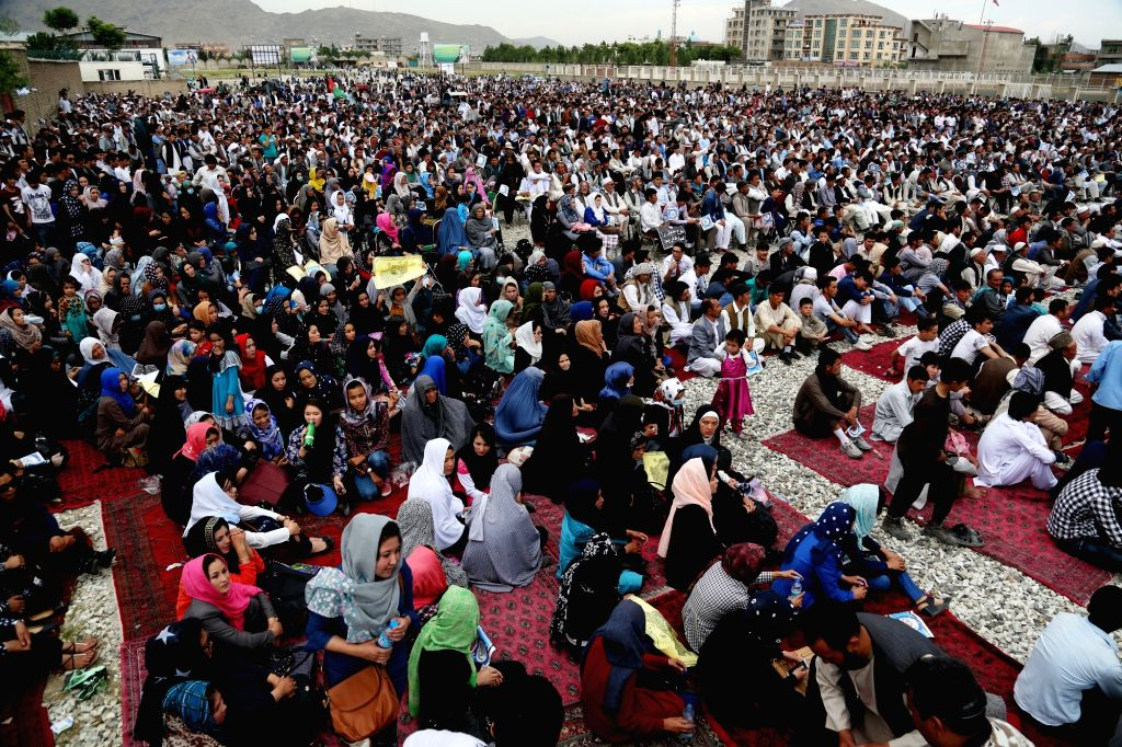 KABUL, May 28, 2016 - Afghans attend a protest in Kabul, capital of Afghanistan, on May 27, 2016. Thousands of Afghans gathered at a mosque west of Kabul on Friday to protest against the government's ...