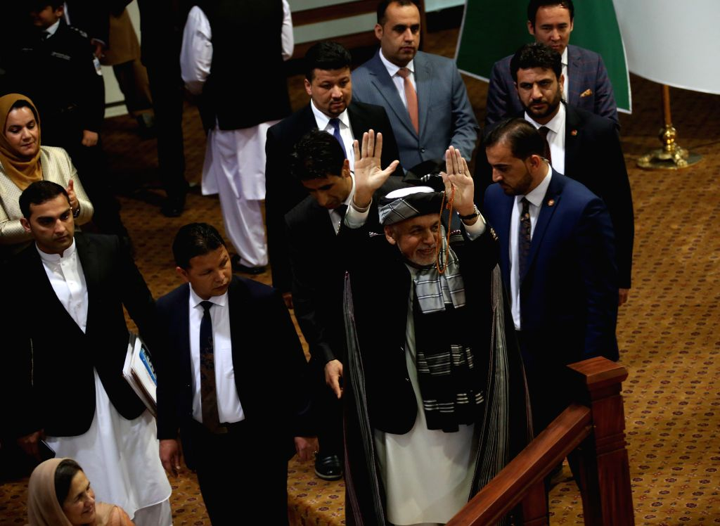 KABUL, May 3, 2019 - Afghan President Mohammad Ashraf Ghani (C) arrives at the hall of the consultative Loya Jirga in Kabul, capital of Afghanistan, May 3, 2019. Afghan President Mohammad Ashraf ...