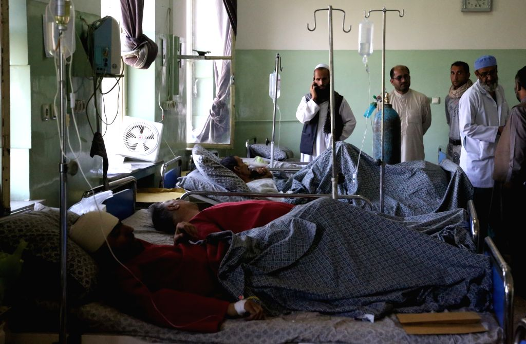 KABUL, May 31, 2017 - Injured men receive medical treatment at a hospital after a car bomb explosion in Kabul, capital of Afghanistan, May 31, 2017. The number of the victims of the deadly terrorist ...