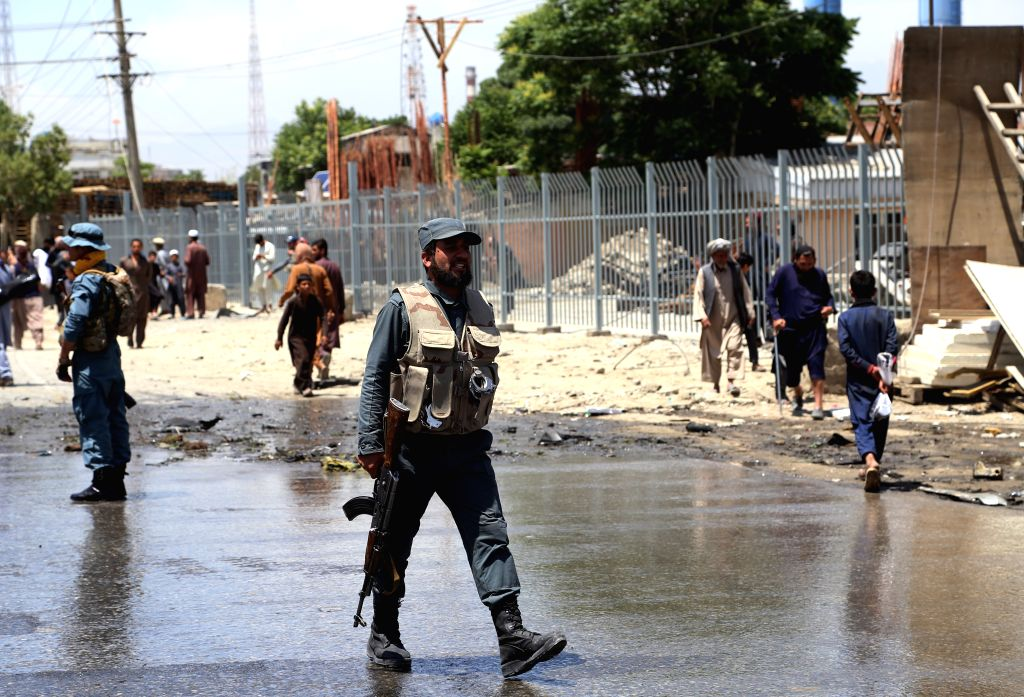 KABUL, May 31, 2019 (Xinhua) -- A member of Afghan security force inspects the site of an attack in Kabul, capital of Afghanistan, May 31, 2019. At least four people were killed and three others injured, all of whom are civilians, as a car bomb rocke