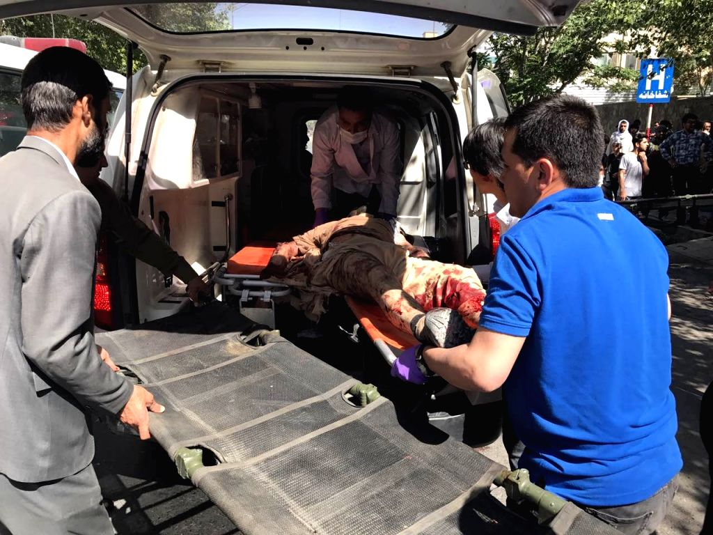 KABUL, May 31 An injured man is being transferred to hospital in Kabul, Afghanistan, on May 31, 2017. A powerful car bombing rocked a diplomatic district in the central part of ...