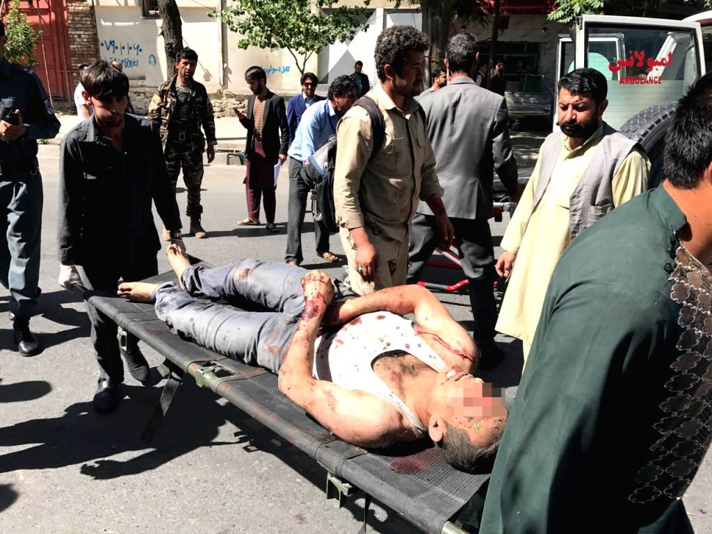 KABUL, May 31 An injured man is being transferred to hospital in Kabul, Afghanistan, on May 31, 2017. A powerful blast rocked a diplomatic district in the central part of Afghanistan's ...