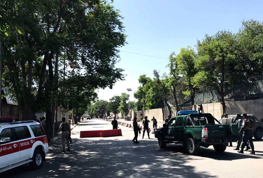 KABUL, May 31 Policemen are seen near the blast site in Kabul, Afghanistan, on May 31, 2017. A powerful car bombing rocked a diplomatic district in the central part of Afghanistan's ...