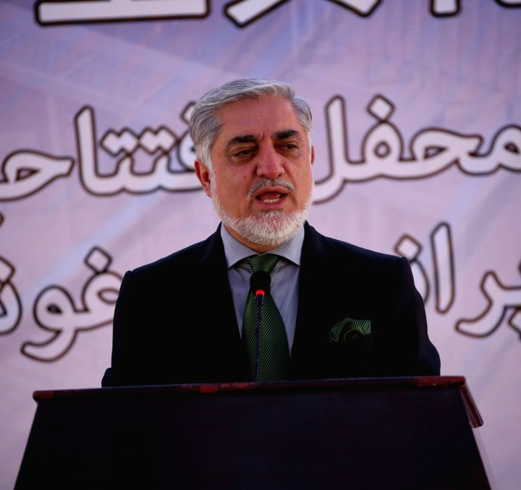 KABUL, Oct. 10 Afghan Chief Executive Abdullah Abdullah speaks during a stone laying foundation ceremony in Kabul, capital of Afghanistan, Oct. 10, 2017. Afghan and Chinese authorities on ...