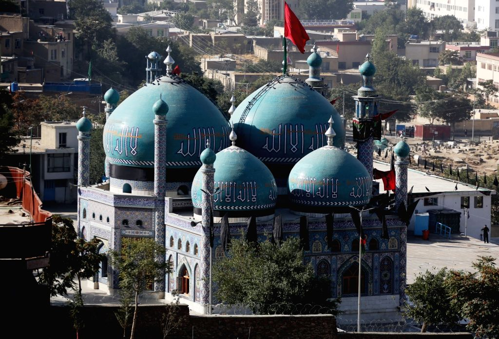 KABUL, Oct. 12, 2016 - Photo taken on Oct. 12, 2016 shows the Shakhi shrine attacked by militants in Kabul, capital of Afghanistan. At least 14 people were killed and over 40 injured Tuesday night ...