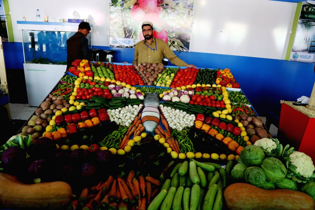 KABUL, Oct. 20, 2016 - An Afghan farmer displays his products during an agriculture exhibition in Kabul, capital of Afghanistan, Oct. 20, 2016. A three-day Afghan agriculture products exhibition ...