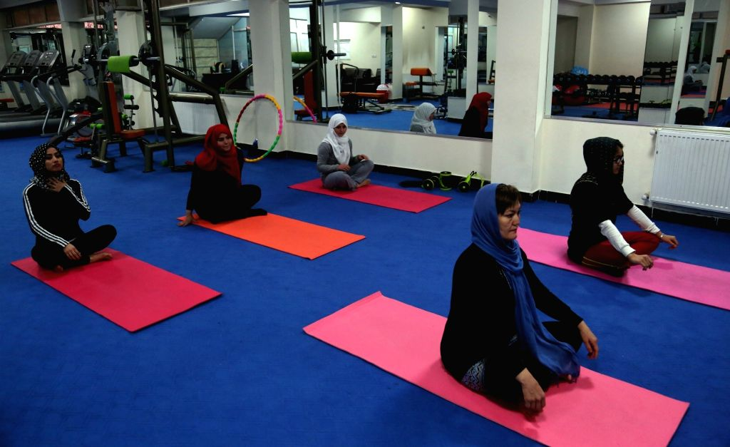 KABUL, Oct. 26, 2016 - Afghan women attend a class at a yoga club in Kabul, capital of Afghanistan, Oct. 25, 2016. The 39-year-old Afghan woman Fakhria Ibrahimi recently established the first yoga ...