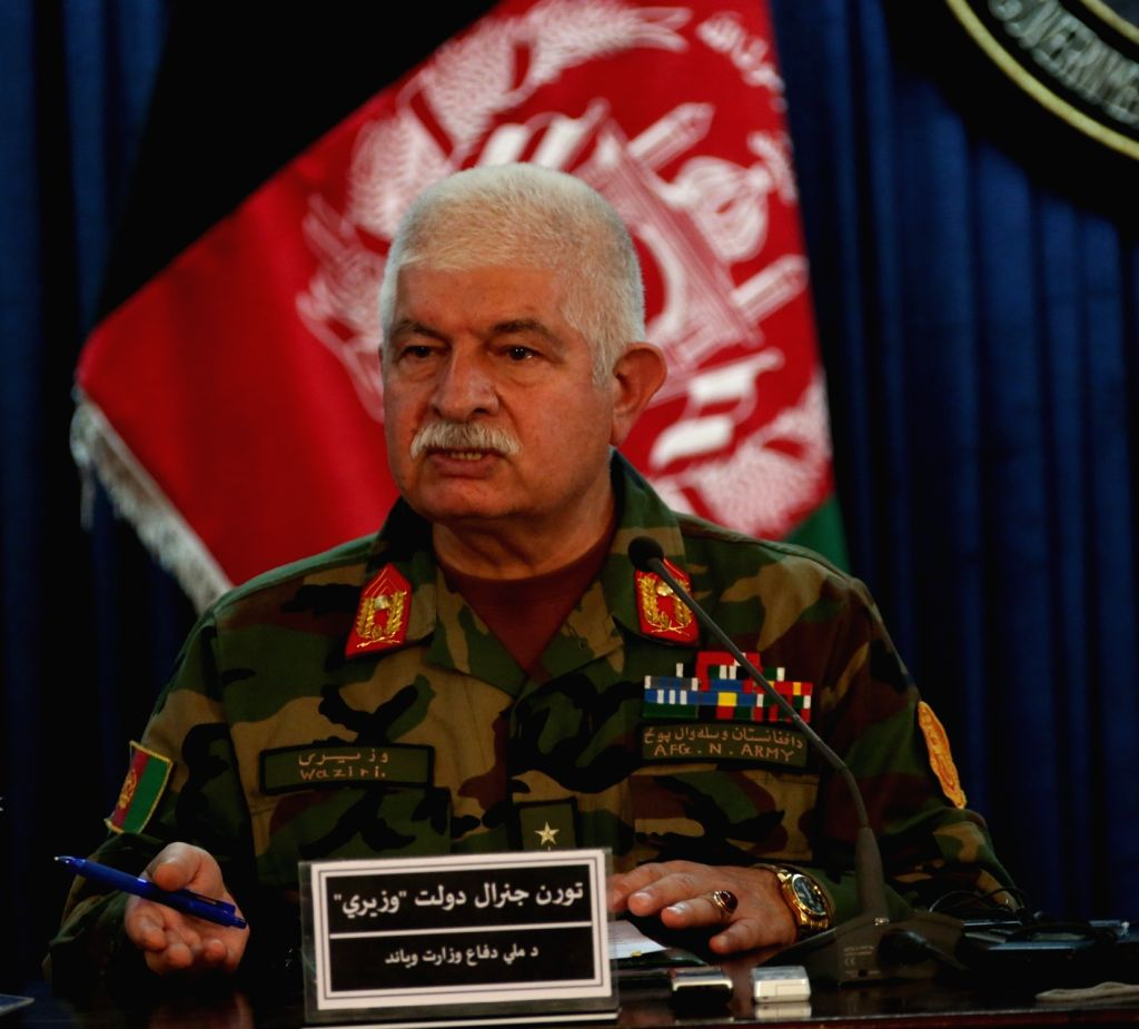 KABUL, Oct. 5, 2016 - Afghan Defense Ministry spokesman Dawlat Waziri speaks during a joint press conference in Kabul, capital of Afghanistan, Oct. 4, 2016. Fierce fighting for the control of Kunduz ...