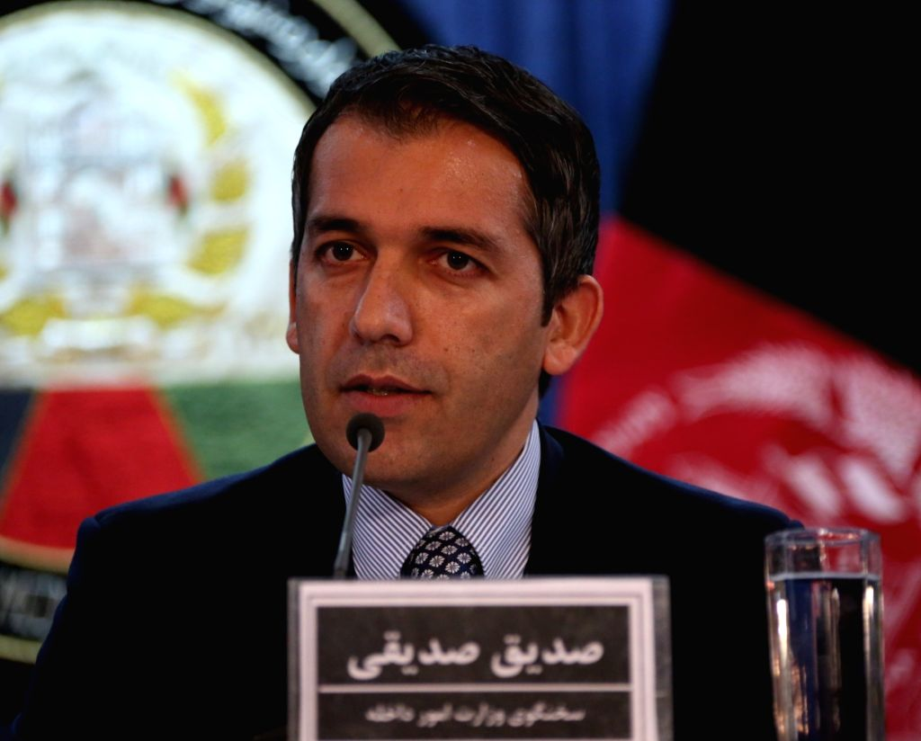 KABUL, Oct. 5, 2016 - Afghan Interior Ministry spokesman Sediq Sediqqi speaks during a joint press conference in Kabul, capital of Afghanistan, Oct. 4, 2016. Fierce fighting for the control of Kunduz ...