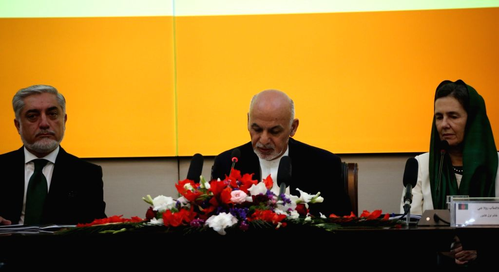 KABUL, Oct. 5, 2017 - Afghan President Mohammad Ashraf Ghani (C) speaks during the Senior Officials Meeting (SOM) of donor nations in Kabul, capital of Afghanistan, Oct. 5, 2017. The SOM of donor ...