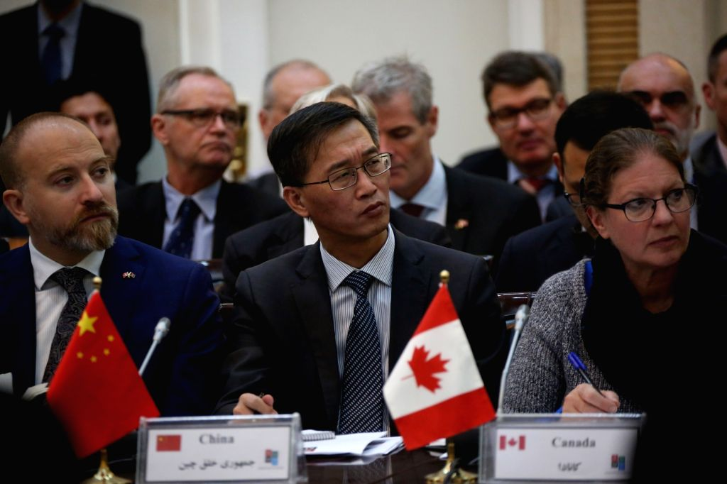 KABUL, Oct. 5, 2017 - Chinese Ambassador to Afghanistan Yao Jing (C) attends the Senior Officials Meeting (SOM) of donor nations in Kabul, capital of Afghanistan, Oct. 5, 2017. The SOM of donor ...