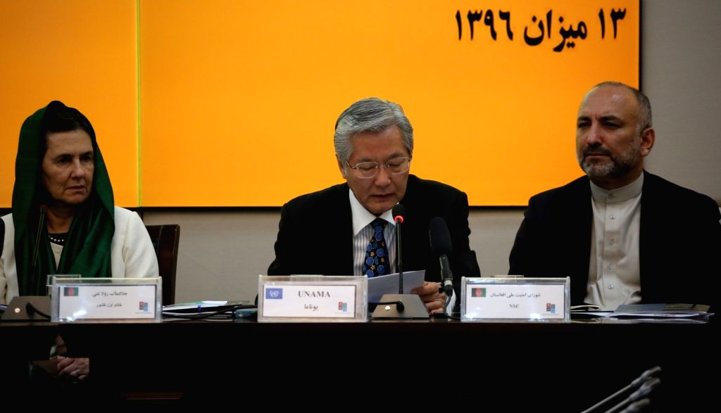 KABUL, Oct. 5, 2017 - UN Secretary-General's Special Representative for Afghanistan Tadamichi Yamamoto (C) speaks during the Senior Officials Meeting (SOM) of donor nations in Kabul, capital of ...