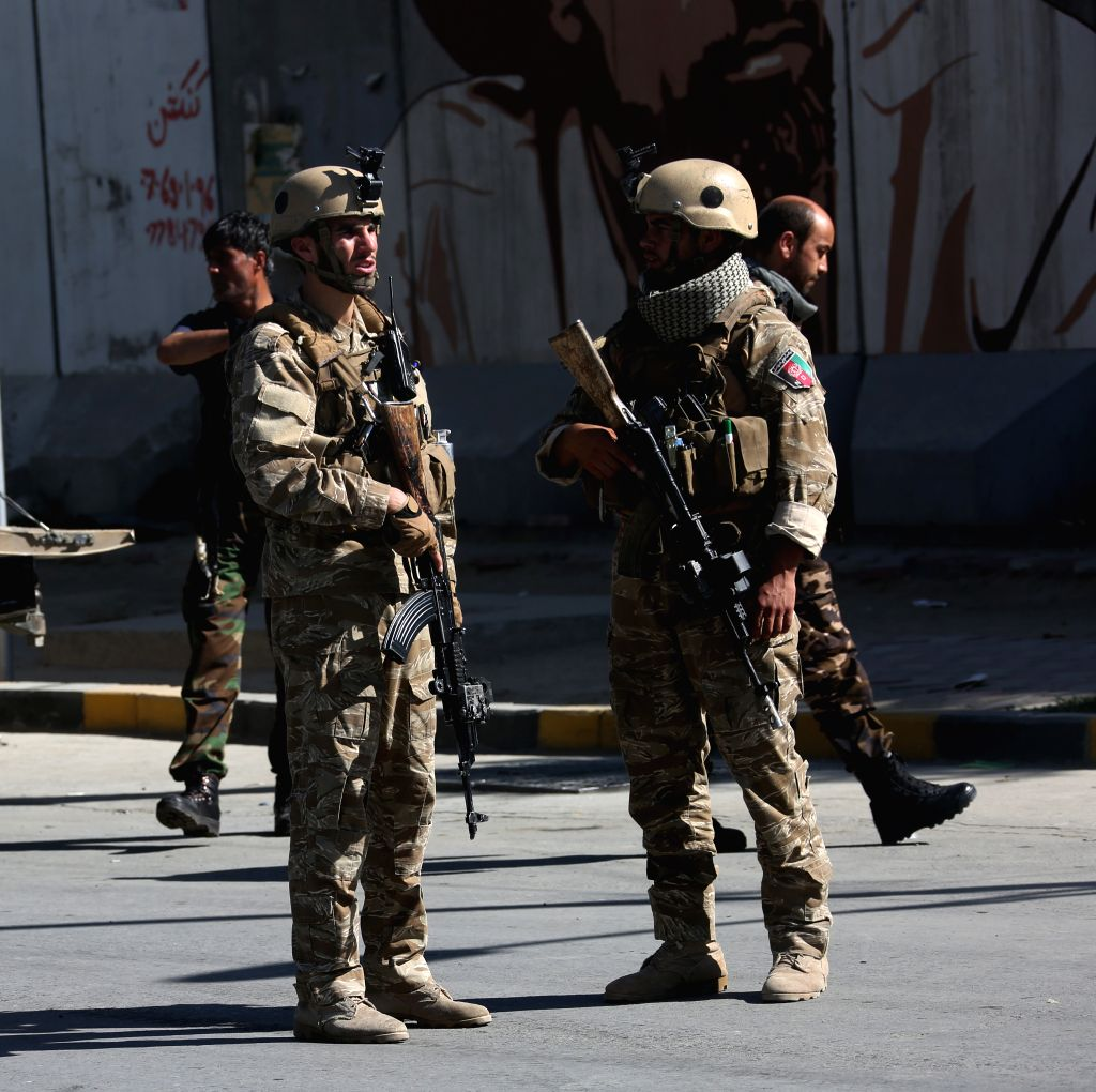 KABUL, Sept. 17, 2019 (Xinhua) -- Afghan security force members stand guard near the site of a bomb explosion in Kabul, capital of Afghanistan, Sept. 17, 2019. An explosion rocked Police District 9 in the Afghan capital of Kabul on Tuesday leaving 16