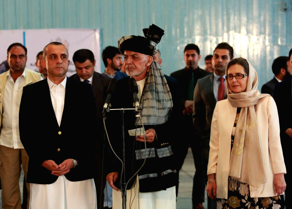 KABUL, Sept. 28, 2019 - Afghan President and presidential candidate Mohammad Ashraf Ghani speaks after casting ballot at a polling center during presidential election in Kabul, capital of ...