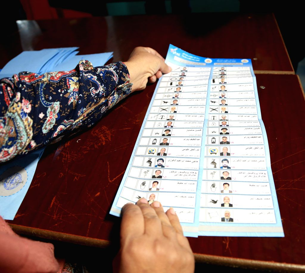 KABUL, Sept. 29, 2019 - Photo taken on Sept. 28, 2019 shows ballot papers during presidential election at a polling center in Kabul, capital of Afghanistan. More than 1 million votes have been ...