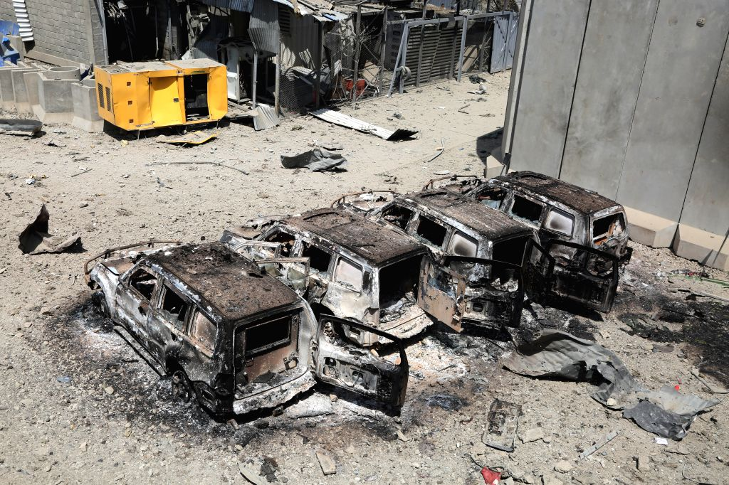 KABUL, Sept. 3, 2019 - Damaged vehicles are seen at the site of a bomb attack in Kabul, capital of Afghanistan, Sept. 3, 2019. The death toll from a massive tractor bomb explosion in Afghanistan's ...