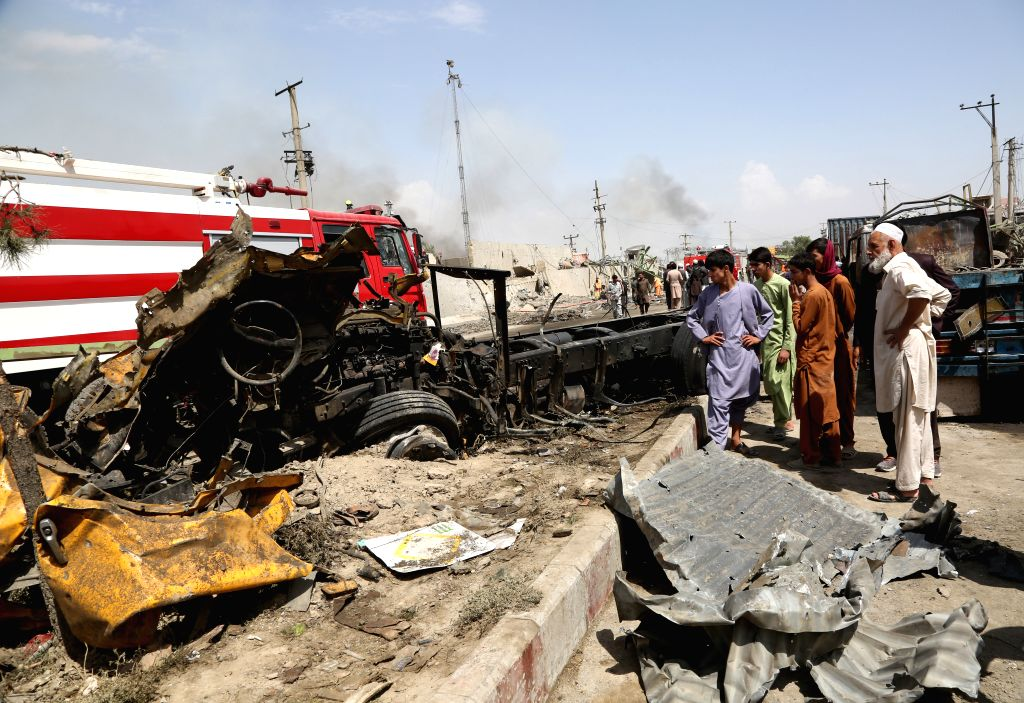 KABUL, Sept. 3, 2019 - Locals gather at the site of a bomb attack in Kabul, capital of Afghanistan, Sept. 3, 2019. The death toll from a massive tractor bomb explosion in Afghanistan's capital of ...