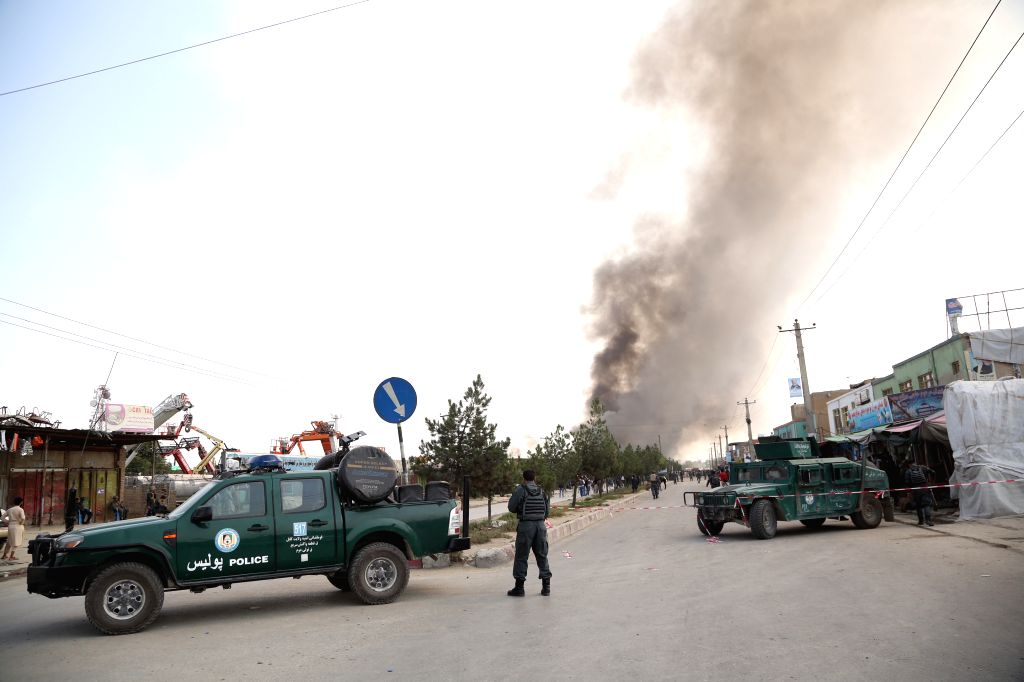 KABUL, Sept. 3, 2019 - Members of Afghan security forces stand guard near the site of a tractor bomb attack in Kabul, capital of Afghanistan, Sept. 3, 2019. The death toll from a massive tractor bomb ...