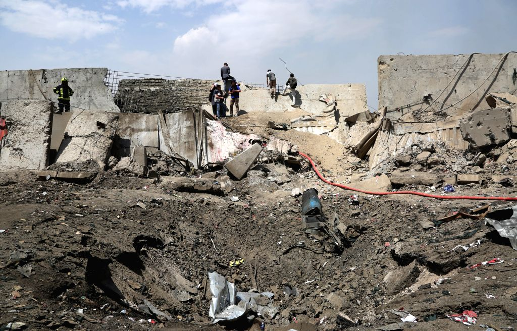 KABUL, Sept. 3, 2019 - Photo taken on Sept. 3, 2019 shows the site of a bomb attack in Kabul, capital of Afghanistan. The death toll from a massive tractor bomb explosion in Afghanistan's capital of ...