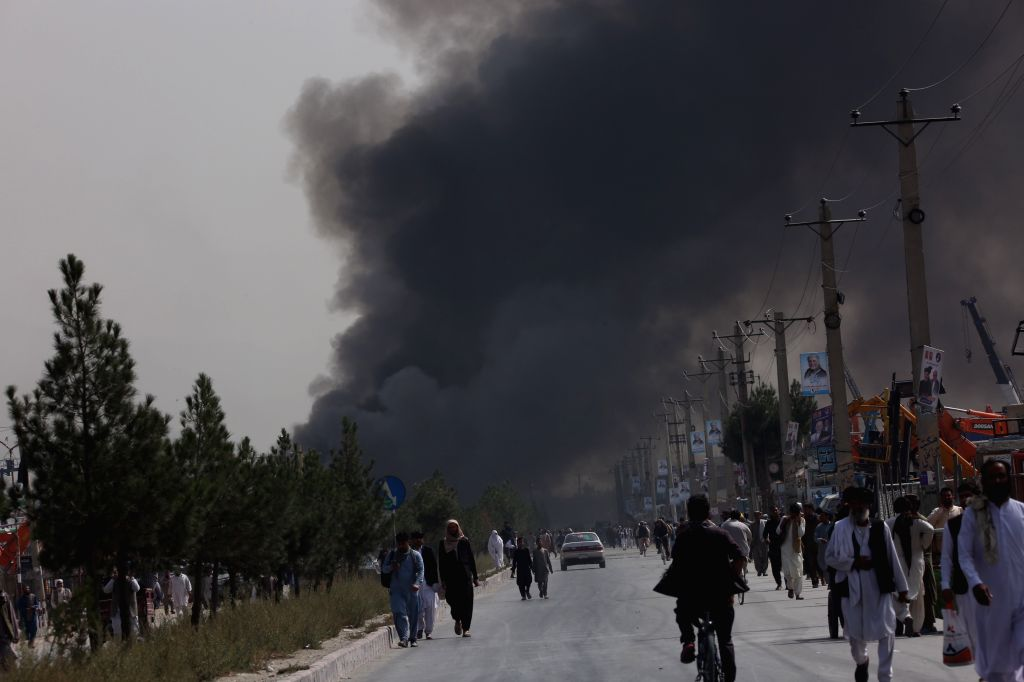 KABUL, Sept. 3, 2019 (Xinhua) -- Smoke rises from the site of a tractor bomb attack in Kabul, capital of Afghanistan, Sept. 3, 2019. The death toll from a massive tractor bomb explosion in Afghanistan's capital of Kabul has risen to 16 while 119 othe