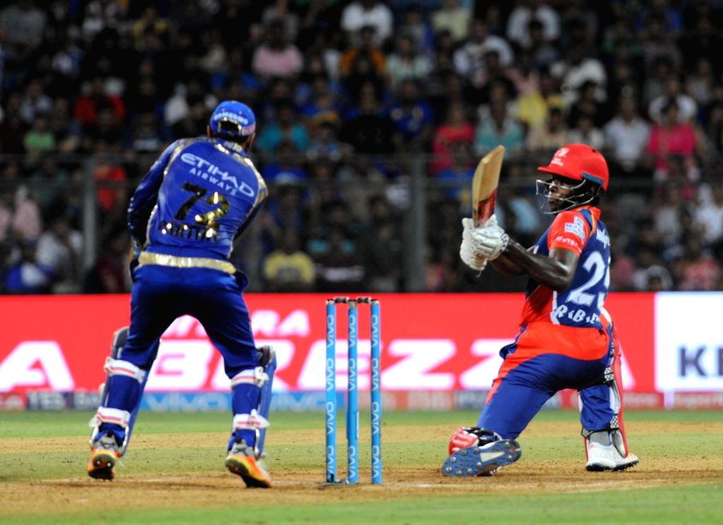 Kagiso Rabada of Delhi Daredevils in action during an IPL 2017 match between Mumbai Indians and Delhi Daredevils at Wankhede Stadium in Mumbai on April 22, 2017.