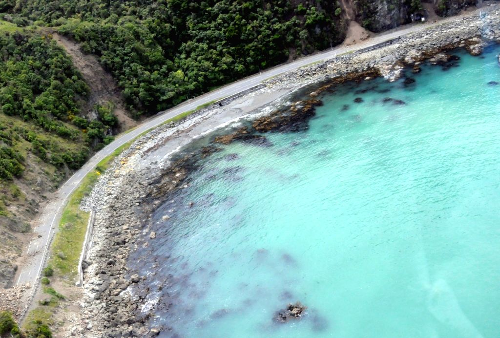 KAIKOURA, Nov. 14, 2016 - Aerial photo taken on Nov. 14, 2016 shows the damaged highway near the town of Kaikoura, on the northeast coast of the South Island, New Zealand. A severe earthquake rocked ...