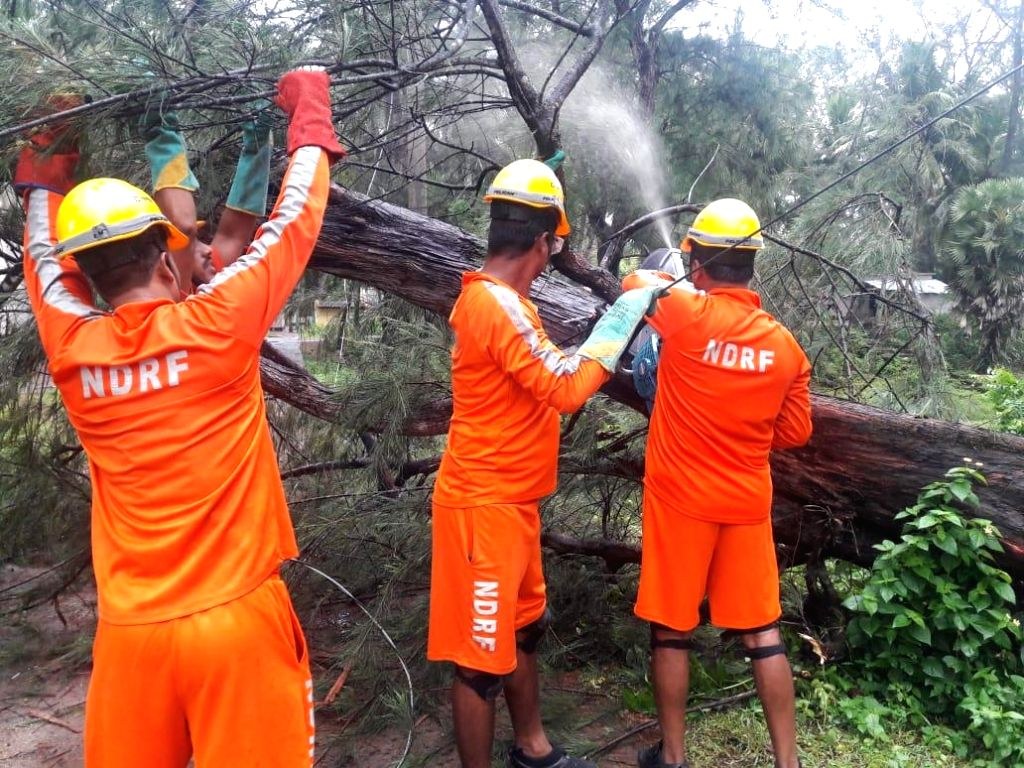 Kakdwip (West Bengal): National Disaster Response Force (NDRF) personnel at work in Kakdwip of West Bengal's South 24 Parganas after Cyclone Fani, one of the strongest storms to batter the Indian ...