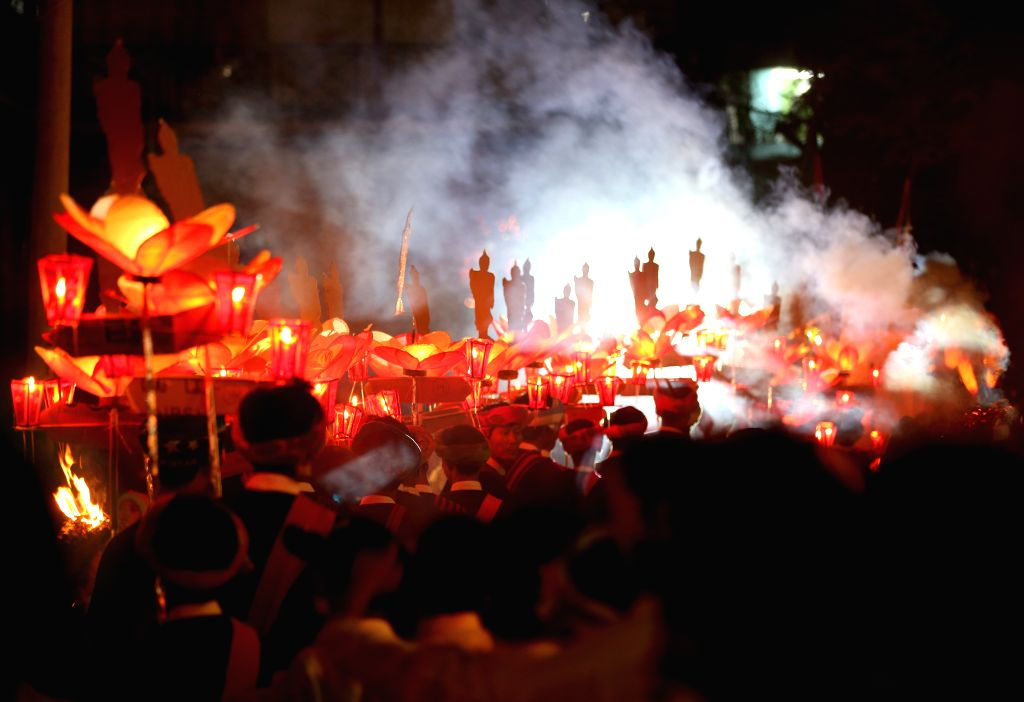 KALAW (MYANMAR), Nov. 13, 2019 People take part in the celebration of the Tazaungdaing festival in Kalaw Township, Shan state of Myanmar, Nov. 12, 2019. Myanmar celebrated its traditional ...