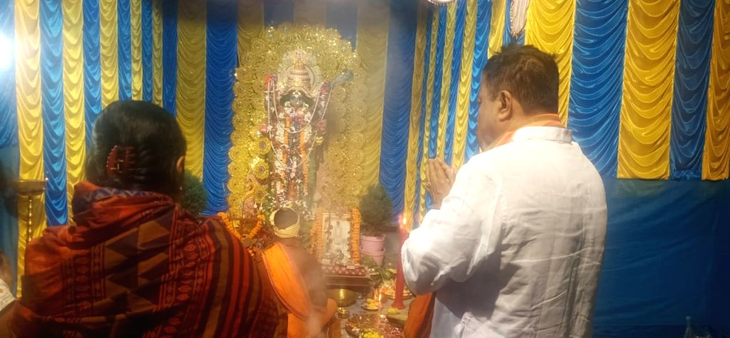 Kali Puja, at the residence of BJP national vice-president Mukul Roy in Kolkata West Bengal on November 14, 2020. - Mukul Roy