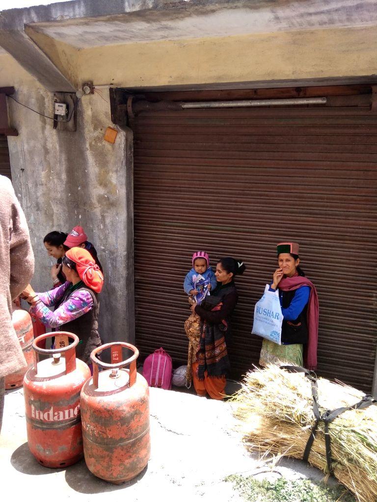 Kalpa: Villagers collect LPG cylinders at Rogi village in Kalpa Tehsil of Himachal Pradesh's Kinnaur district on June 22, 2019. (Photo: IANS)