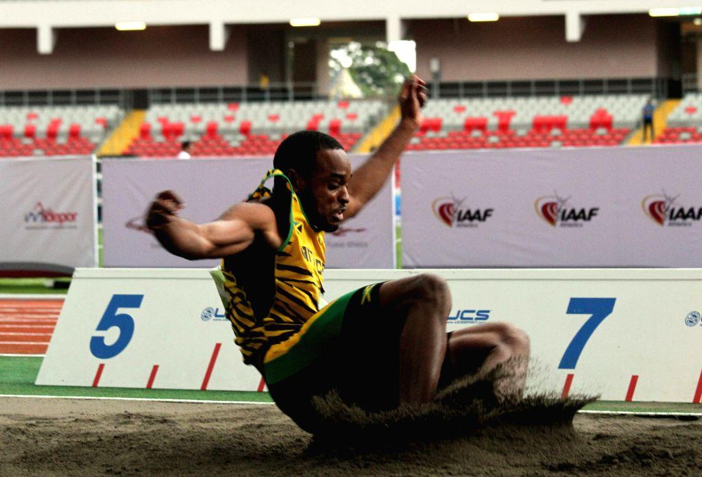 Kamal Fuller of Jamaica competes in men's long jump of NACAC's Athletics Championship 2015, at Nacional Stadium, of San Jose City, capital of Costa Rica, on Aug. 8, ...