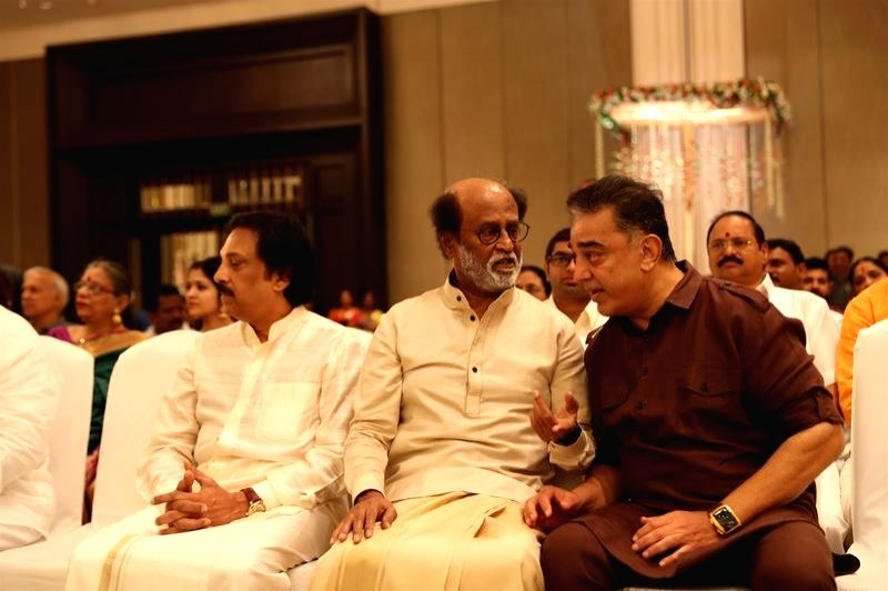 Kamal Haasan at the wedding of actor Rajinikanth's daughter Soundarya and Vishagan Vanangamudi in Chennai on Feb 10, 2019. - Rajinikant