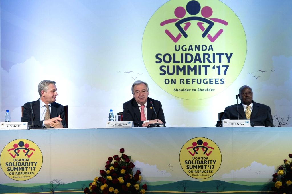 "Kampala (Uganda): United Nations Secretary-General Antonio Guterres (centre) and Ugandan President Yoweri Kaguta during  a two-day ""Solidarity Summit"", to rally international support for ..."