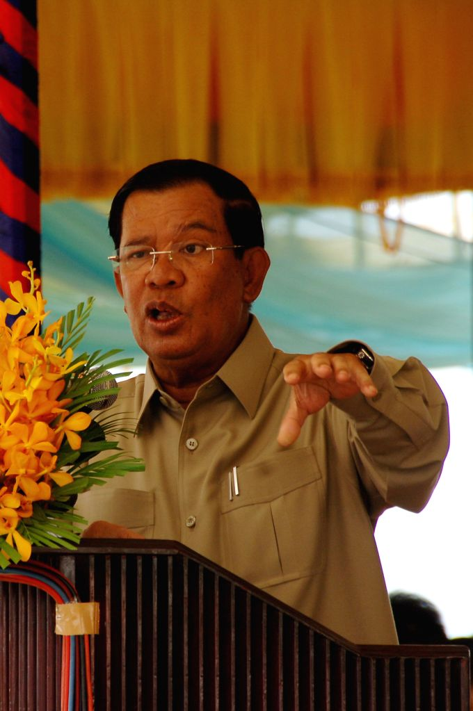 KAMPONG SPEU, Aug. 2, 2016 - Cambodian Prime Minister Samdech Techo Hun Sen speaks during the inauguration ceremony of national road No. 44 in Kampong Speu province, Cambodia, Aug. 2, 2016. Cambodia ... - Samdech Techo Hun Sen