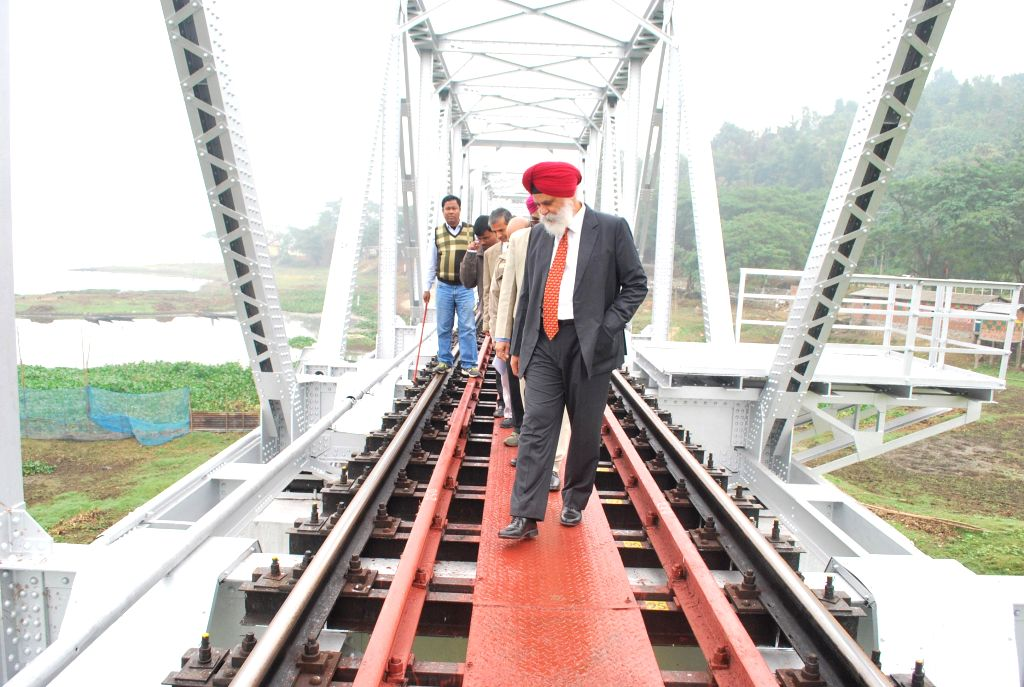 NF Railways GM R S Virdi carries out annual inspection of Rangiya Division of the Railways in Kamrup district of Assam on Dec 10, 2014.