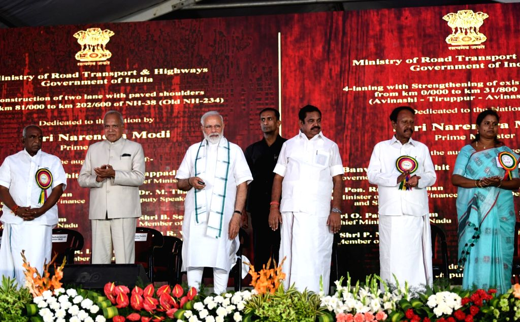 Kancheepuram: Prime Minister Narendra Modi unveils the multiple projects in roadways, railways and energy sector, in Kancheepuram of Tamil Nadu on March 6, 2019. Also seen Tamil Nadu Governor Banwarilal Purohit, Tamil Nadu Chief Minister Edappadi K.  - Narendra Modi