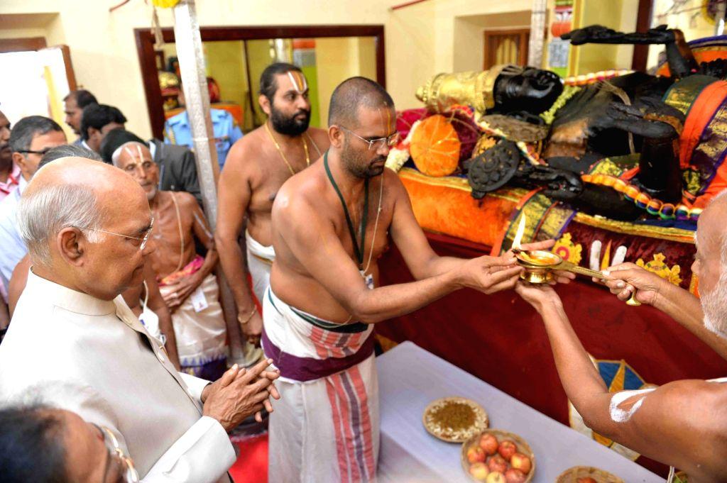 Kanchipuram: President Ram Nath Kovind offers prayers at Devarajaswami Temple in Kanchipuram, Tamil Nadu on July 12, 2019. (Photo: IANS/RB) - Nath Kovind
