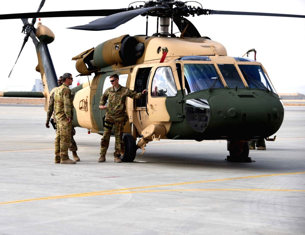 KANDAHAR, Jan. 24 Photo taken on Jan. 23, 2018 shows a Black Hawk helicopter during a handover ceremony between the U.S. forces and the Afghan air force in Kandahar Province, south ...