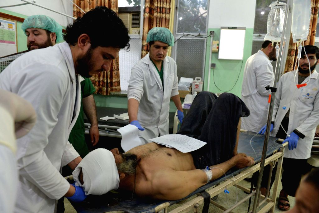 KANDAHAR, July 16, 2019 - A man injured in a landmine explosion receives treatment at a hospital in Kandahar Province, south Afghanistan, July 15, 2019. Nine civilians were killed and 18 others ...