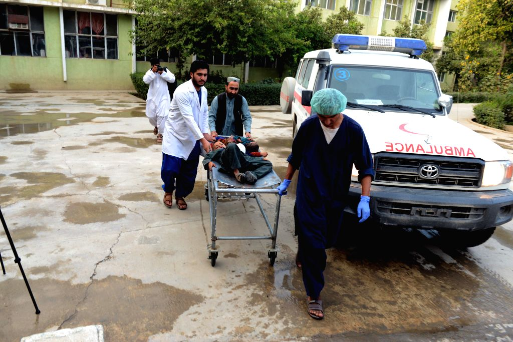 KANDAHAR, July 16, 2019 - Health workers transfer children injured in a landmine explosion to a hospital in Kandahar Province, south Afghanistan, July 15, 2019. Nine civilians were killed and 18 ...