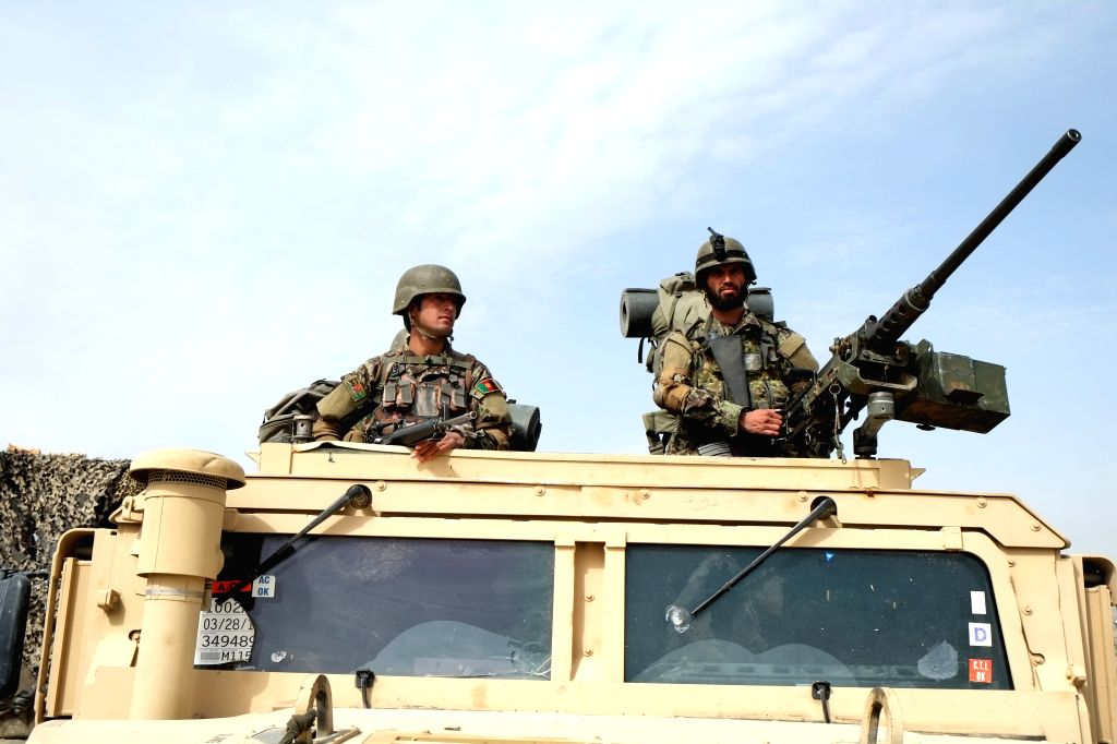 KANDAHAR, March 15, 2017 - Afghan army soldiers sit on a military vehicle during a military operation in southern Kandahar province of Afghanistan, on March, 14, 2017.