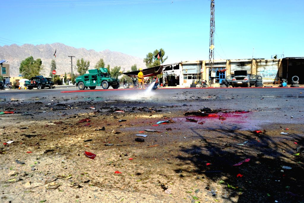 KANDAHAR, Oct. 29, 2016 - Photo taken on Oct. 29, 2016 shows the site of a suicide attack in Kandahar province, Afghanistan. A police officer was killed and three others injured in a suicide bomb ...