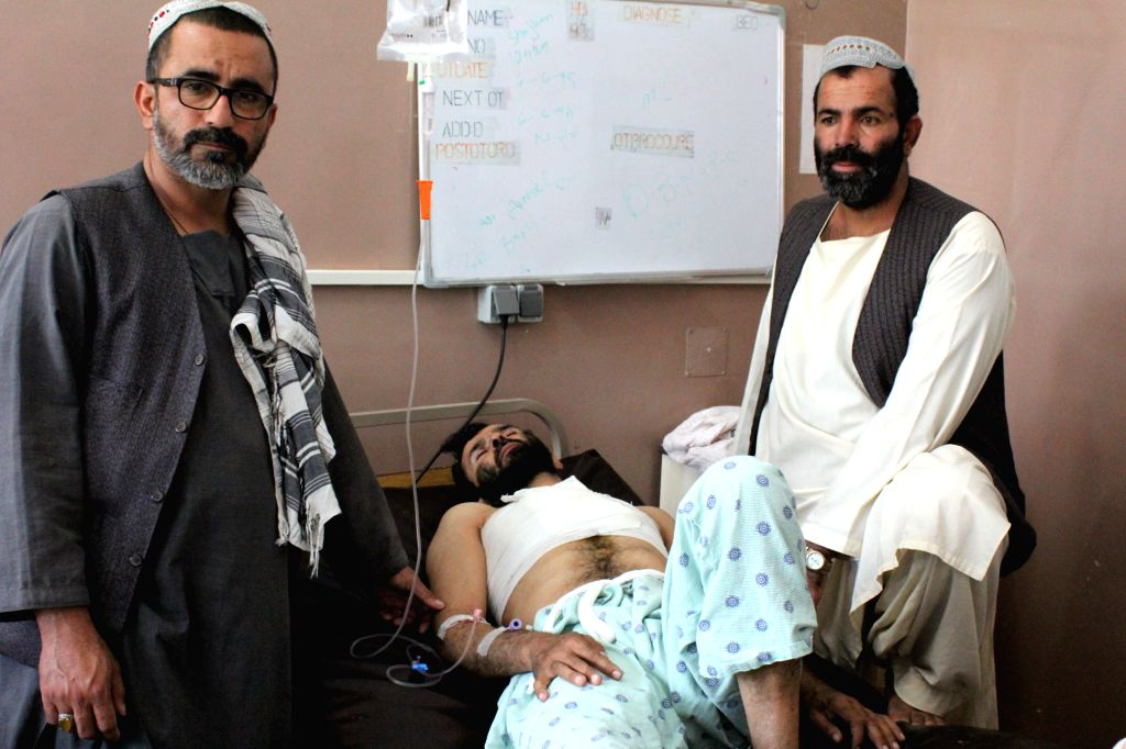 KANDAHAR, Sept. 28, 2019 - An injured civilian receives treatment at a hospital in Kandahar, capital of Kandahar Province, south Afghanistan, Sept. 28, 2019. Up to 14 people, all civilians, were ...