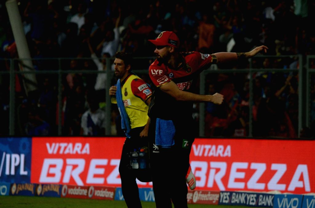 Kane Richardson of Royal Challengers Bangalore during IPL match between  Mumbai Indians and Royal Challengers Bangalore at Wankhede Stadium in Mumbai on April 20, 2016.