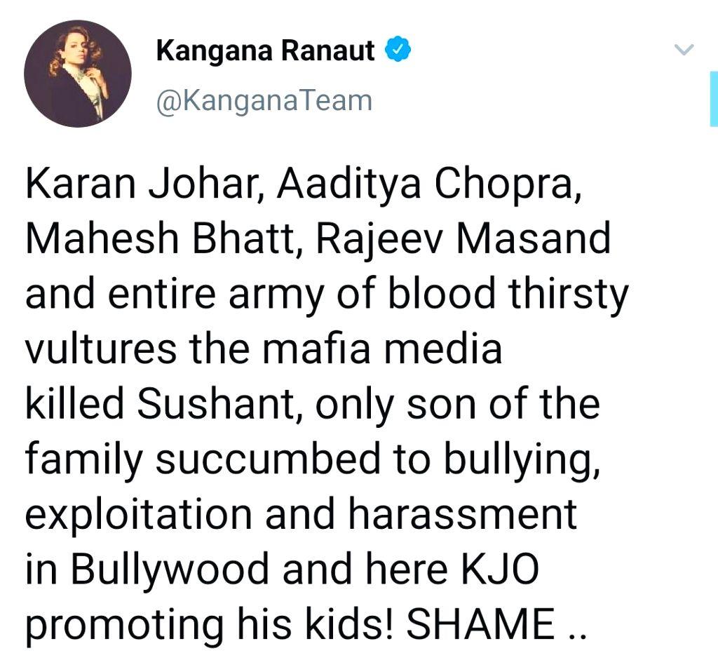 Kangana Ranaut: Karan Johar, Aditya Chopra, Mahesh Bhatt 'killed Sushant - Kangana Ranaut, Karan Johar and Chopra