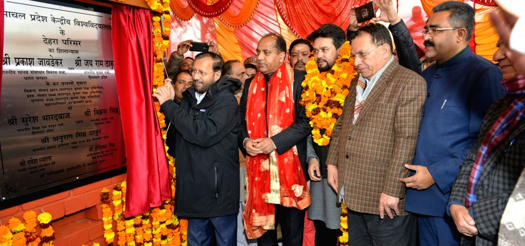 Kangra: Himachal Chief Minister Jai Ram Thakur and Union HRD Minister Prakash Javadekar during a programme organsied to lay foundation stone of Central University of Himachal Pradesh at Dehra in Kangra district on Feb 21, 2019. (Photo: IANS) - Jai Ram Thakur