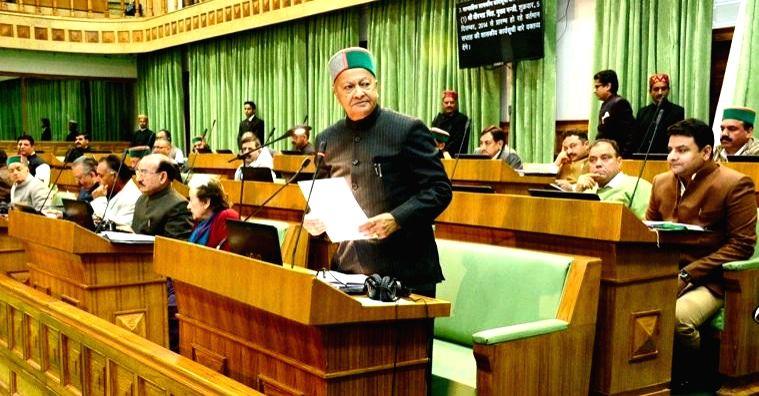 Himachal Pradesh Chief Minister Virbhadra Singh addresses during the winter session of Himachal Pradesh Legislative Assembly at Tapovan in Kangra district on Dec 5, 2014. - Virbhadra Singh