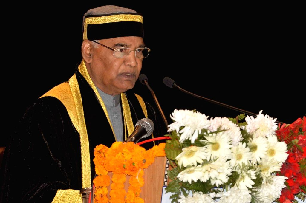 : Kangra: President Ram Nath Kovind addresses during the first convocation of Dr. Rajendra Prasad Government Medical College (DRPGMC) in Kangra, Himachal Pradesh, on Oct 29, 2018. (Photo: IANS/RB).